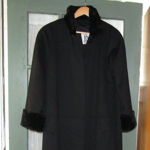 Vintage JNY Wool Coat with Faux Fur Collar & Cuffs